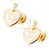 Fülbevaló 9K sárga aranyból - szív fehér fénymázas díszítéssel, átlátszó cirkóniák