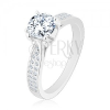 925 ezüst eljegyzési gyűrű, szűkített szárak, cirkónia