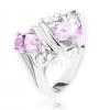 Gyűrű ezüst árnyaltban, rózsaszín ás átlátszó cirkóniák, kettős spirál