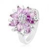 Fénylő gyűrű ezüst színben, csillogó virág színes cirkóniákból