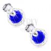 Bedugós fülbevaló, két golyócska - tiszta és kék színű, cirkónia foglalatban
