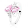 Fényes acél gyűrű, két rózsasszín ovális cirkónia, átlátszó cirkóniák