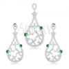 Szett medálból és fülbevalóból, 925 ezüst, cseppkörvonal, zöld cirkóniák, átlátszó virágok
