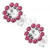 925 ezüst fülbevaló, csillogó virág átltászó és rózsaszín Preciosa kristállyal