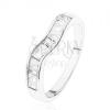 Csillogó 925 ezüst gyűrű, hullámos vonal, átlátszó cirkóniás trapézok