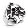 Gyűrű nemesacélból - kártya szimbólum és koponya