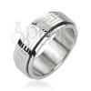 Orvosi fém gyűrű - forgatható sáv, görög mintázat, ezüst szín