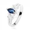 Eljegyzési gyűrű, 925 ezüst, magszem sötétkék cirkóniából, csillogó félholdak