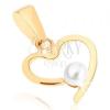 Medál 9K sárga aranyból - vékony szív körvonal, fehér gyöngy