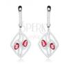 Fülbevaló 925 ezüstből, rombusz körvonal, cirkóniás vonalak, rózsaszín könnycseppek fülbevaló