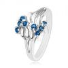 Fénylő gyűrű, ezüst színben, hullámok, kör alakú csillogó cirkónia, cikk-cakk minta