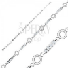 925 ezüst karkötő, hosszúkás elemek átlátszó cirkóniákkal, karikák