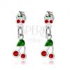 925 ezüst fülbevaló, kis és nagy piros cseresznye, fénymáz