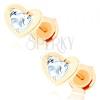 Fülbevaló 14K sárga aranyból - átlátszó cirkóniás szív fényes körvonalban
