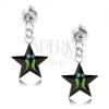 925 ezüst fülbevaló, fekete csillag - zöld sávok, átlátszó Swarovski kristály
