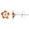 Fülbevaló 925 ezüstből - narancssárga zománcos virág