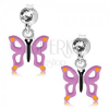 925 ezüst fülbevaló, lila pillangó kivágásokkal a szárnyain, kristály