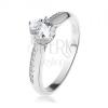 Eljegyzési gyűrű, 925 ezüst, lekerekített szárak, átlátszó cirkónia