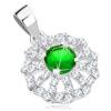 925 ezüst medál, virág - átlátszó cirkóniás szirmok és zöld közép