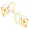375 arany fülbevaló - két színű pillangó körvonal, átlátszó cirkónia