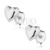 925 ezüst bedugós fülbevaló - domború fényes szívecske