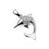 Medál sterling ezüstből - delfin cirkónia buborékokkal, kétoldalas