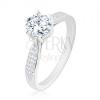 925 ezüst eljegyzési gyűrű, fénylő kör alakú cirkónia, díszített szárak