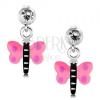 Fülbevaló 925 ezüstből, pillangó rózsaszín szárnyakkal és lila pöttyökkel