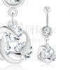 Acél piercing, ezüst szín, három átlátszó cirkónia, fényes csomó