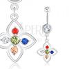 Acél köldökpiercing, ezüst szín, virág színes cirkónia díszítéssel