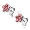 Fülbevaló 925 ezüstből - bedugós virág rózsaszín kövekkel