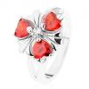 Acél gyűrű, csillogó virág narancssárga szív alakú cirkóniákkal