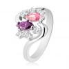 Ezüst színű gyűrű, hullámos szárakkal, színes és átlátszó cirkóniák