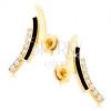 Fülbevaló 14K sárga aranyból - cirkóniás, fekete és sima ív, beszúrós
