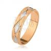 Két színű karikagyűrű, rombusz minta, gravírozott függőleges vonalak
