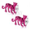Fülbevaló 925 ezüstből, rózsaszín tigris fekete csíkokkal