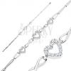 925 ezüst karkötő, fényes elemek, átlátszó cirkóniás szívkörvonal