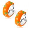 925 ezüst fülbevaló, kis narancs karika, zöld és fehér pöttyök, fénymáz