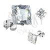 925 ezüst fülbevaló, átlátszó négyzet a foglalatban, beszúrós, 8 mm