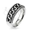 Sebészeti acél gyűrű - S alakú minta, antikolt