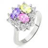 Fényes gyűrű, színes ovális cirkóniák, tiszta háromszög vonal