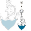 Acél köldökpiercing - kék horgony kötéllel, átlátszó kő
