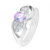 Gyűrű ezüst színben, masni színes oválisokkal és átlátszó cirkóniákkal