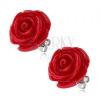 Fülbevaló sebészeti acélból, piros gyanta rózsa, 20 mm