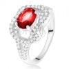 925 ezüst gyűrű, ovális rubinvörös kő, cirkóniás csomó