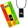 Madzagos nyaklánc, medál, marihuána levélm, fekete háttér