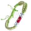Fonott karkötő - bézs-zöld szín, virágok, gyöngyök csillaggal