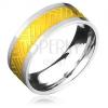 Minőségi acél gyűrű, arany-ezüst szín, vonalak fonott mintával