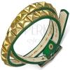 Karkötő bőrből - zöld szíj, arany színű piramisok