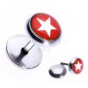 Acél fake piercing a fülbe - csillag piros karikában